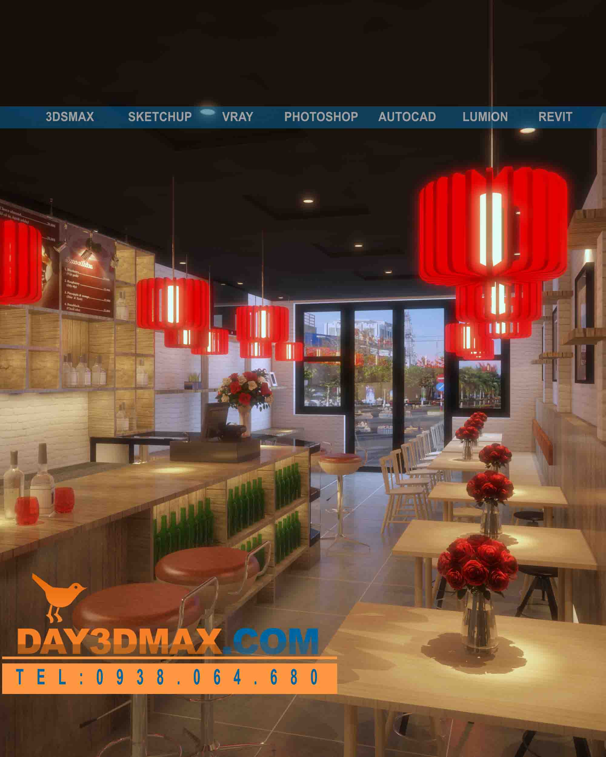 online 3d courses model and render an interior of a coffee shop with autocad 3d sketchup. Black Bedroom Furniture Sets. Home Design Ideas