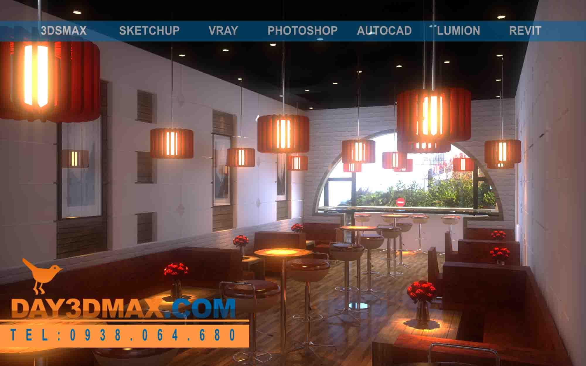 Online 3d courses Model and Render an interior of a coffee