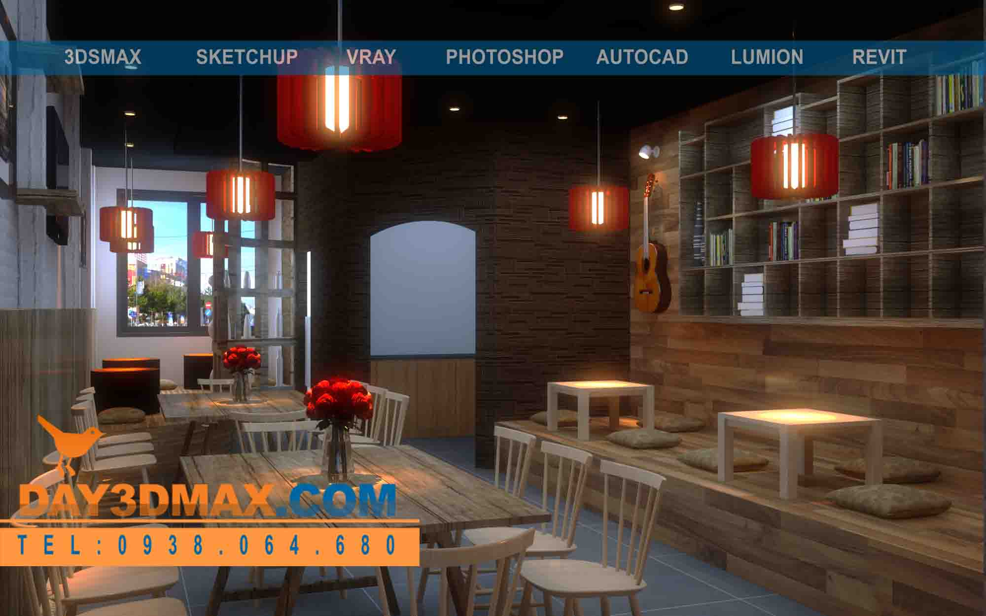Online 3d Courses Model And Render An Interior Of A Coffee Shop With Autocad Sketchup 3dsmax Vray Photoshop